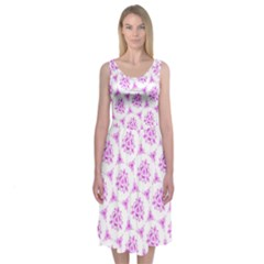 Sweet Doodle Pattern Pink Midi Sleeveless Dress
