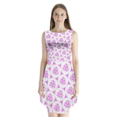 Sweet Doodle Pattern Pink Sleeveless Chiffon Dress