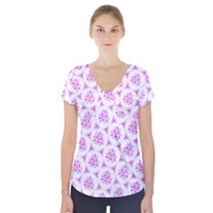 Sweet Doodle Pattern Pink Short Sleeve Front Detail Top