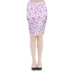 Sweet Doodle Pattern Pink Midi Wrap Pencil Skirt