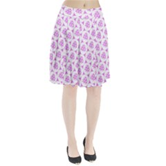 Sweet Doodle Pattern Pink Pleated Skirt