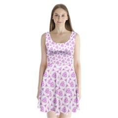 Sweet Doodle Pattern Pink Split Back Mini Dress