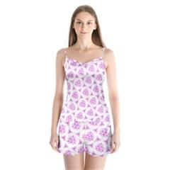 Sweet Doodle Pattern Pink Satin Pajamas Set