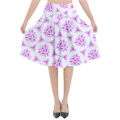 Sweet Doodle Pattern Pink Flared Midi Skirt