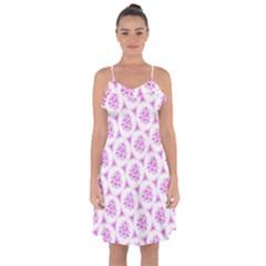 Sweet Doodle Pattern Pink Ruffle Detail Chiffon Dress