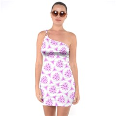 Sweet Doodle Pattern Pink One Soulder Bodycon Dress