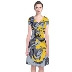 Abstract art Short Sleeve Front Wrap Dress