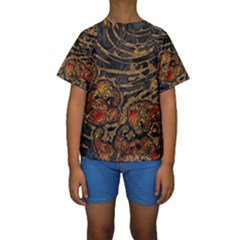 Unique Abstract Mix 1a Kids  Short Sleeve Swimwear