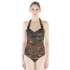 Unique Abstract Mix 1a Halter Swimsuit
