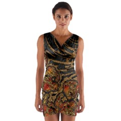 Unique Abstract Mix 1a Wrap Front Bodycon Dress