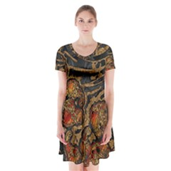 Unique Abstract Mix 1a Short Sleeve V-neck Flare Dress