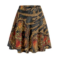 Unique Abstract Mix 1a High Waist Skirt