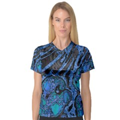 Unique Abstract Mix 1b Women s V-Neck Sport Mesh Tee