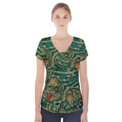 Unique Abstract Mix 1c Short Sleeve Front Detail Top
