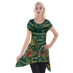 Unique Abstract Mix 1c Short Sleeve Side Drop Tunic