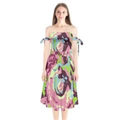 Abstract Art Shoulder Tie Bardot Midi Dress