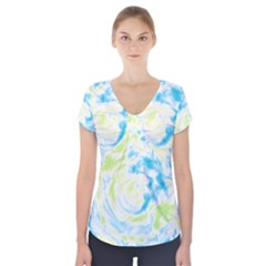 Abstract art Short Sleeve Front Detail Top