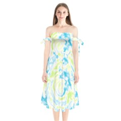 Abstract Art Shoulder Tie Bardot Midi Dress