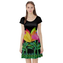 Tulips Short Sleeve Skater Dress