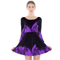 Tulips Long Sleeve Velvet Skater Dress