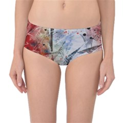 Abstract design Mid-Waist Bikini Bottoms