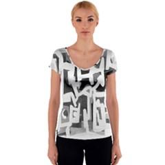 Abstract art Women s V-Neck Cap Sleeve Top