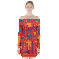 Abstract art Long Sleeve Off Shoulder Dress