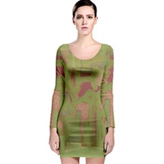 Abstract art Long Sleeve Bodycon Dress