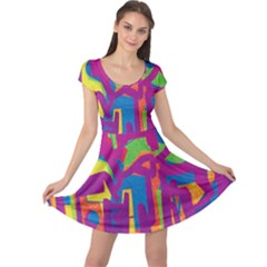 Abstract art Cap Sleeve Dresses