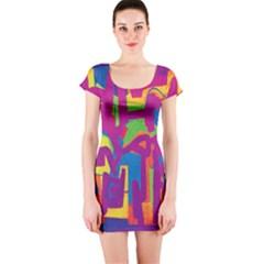 Abstract art Short Sleeve Bodycon Dress
