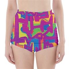 Abstract art High-Waisted Bikini Bottoms