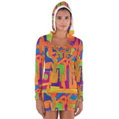 Abstract art Women s Long Sleeve Hooded T-shirt