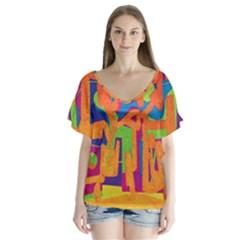 Abstract art Flutter Sleeve Top