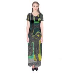 Abstract art Short Sleeve Maxi Dress