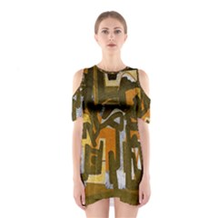 Abstract art Shoulder Cutout One Piece