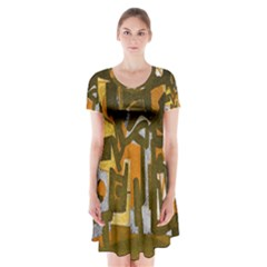 Abstract art Short Sleeve V-neck Flare Dress