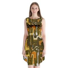 Abstract art Sleeveless Chiffon Dress