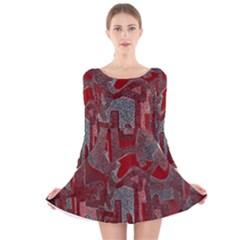Abstract art Long Sleeve Velvet Skater Dress