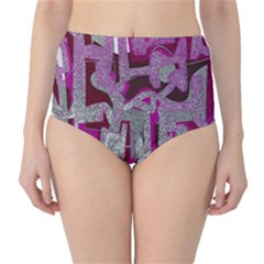 Abstract art High-Waist Bikini Bottoms