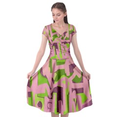 Abstract Art Cap Sleeve Wrap Front Dress