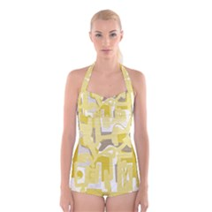 Abstract art Boyleg Halter Swimsuit
