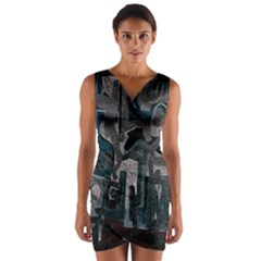 Abstract art Wrap Front Bodycon Dress