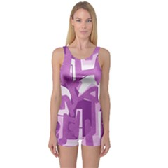 Abstract art One Piece Boyleg Swimsuit