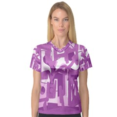 Abstract art Women s V-Neck Sport Mesh Tee