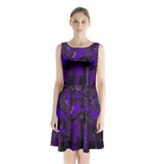 Abstract art Sleeveless Waist Tie Chiffon Dress