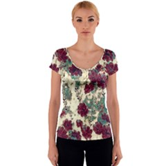 Floral Dreams 10 Women s V-Neck Cap Sleeve Top