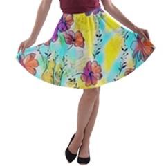 Floral Dreams 12 A-line Skater Skirt
