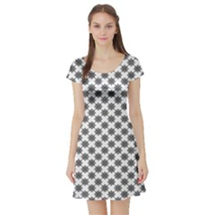 Pattern Short Sleeve Skater Dress