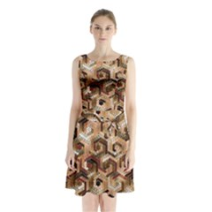 Pattern Factory 23 Brown Sleeveless Waist Tie Chiffon Dress