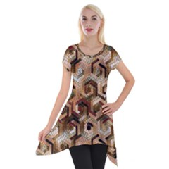 Pattern Factory 23 Brown Short Sleeve Side Drop Tunic